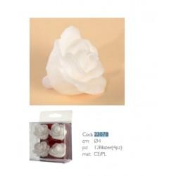 Candele a forma di Rosa Bianca 4 pz