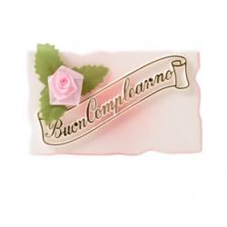 Targhette Buon Compleanno per torte Rosa-Azzurre