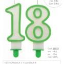 Candela 18 anni Verde con Glitter