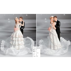 Cake Topper sposi Con Tulle e Bouquet