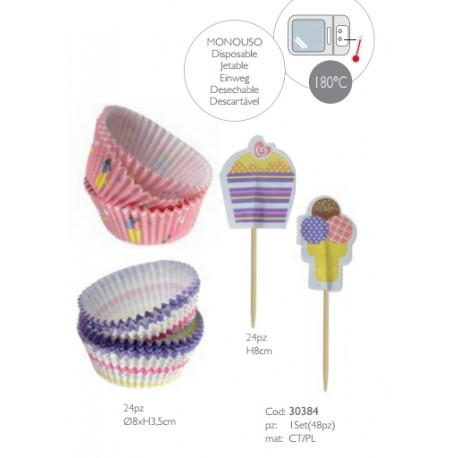 Kit per Cupcake Pirottini e Decori 48 pz