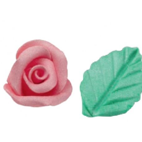Kit Rosa e Foglia in pasta di zucchero