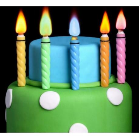Candele a righe colorate per torte