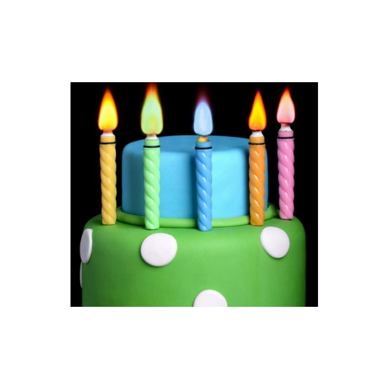 Candele con fiamma colorata per torte for Candele colorate
