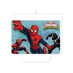 Candelina Spiderman in plastica con piedino