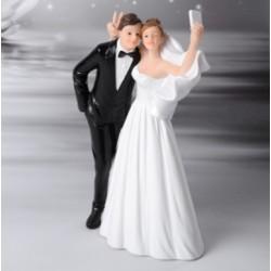 Cake topper Sposi con Selfie divertente
