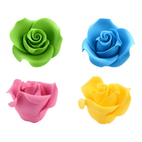 Rose gia' pronte in pasta di zucchero 3d in vari colori