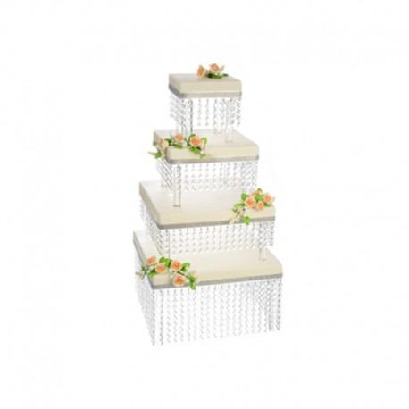Alzata Quadrata con Cristalli per torte