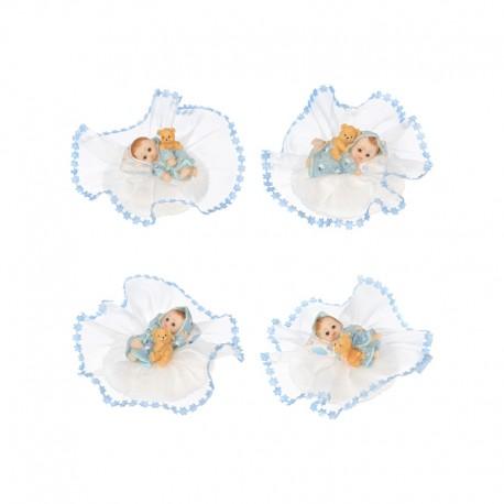 Topper con Bambino e Orsetto Rosa/Azzurro