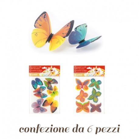 Farfalle in Ostia colorate 6 pezzi