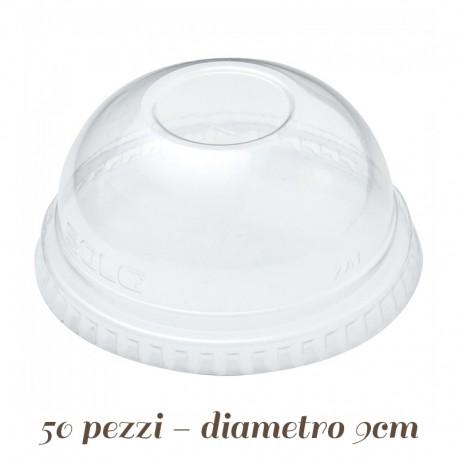 Coperchio in Plastica a Cupola per bicchieri con cannuccia