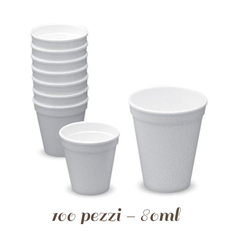 BICCHIERI POLISTIROLO TERMICI 80 CC PER CAFFE/' D/'ASPORTO CON COPERCHIO 100 PZ
