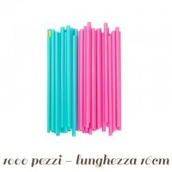 1000 Cannucce per Bibite Azzurre e Rosa Assortite @7 mm h 13 cm