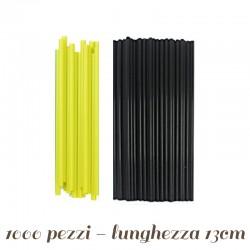 1000 Cannucce Rigide per Bibite Nere e Verdi Assortite H 16 cm