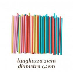 100 Cannucce Dritte Colorate per Frappe' Frullati @1.2 21 cm