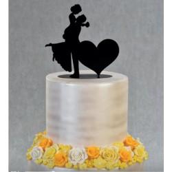 Topper sposi con cuore sagoma nera in metallo h 18 cm