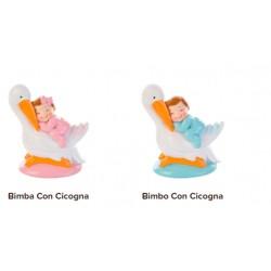 Topper bimba e bimbo con cicogna per battesimo o nascita